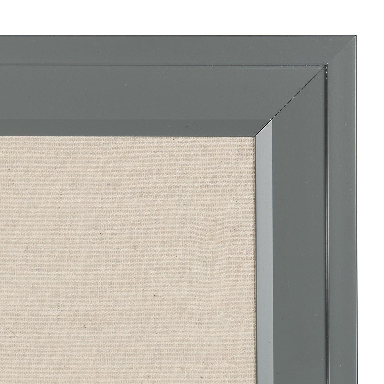 DesignOvation Bosc Framed Linen Fabric Pinboard, 18.5x27.5, Gray ...