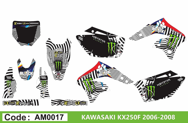am0017 Kawasaki KXF 250 2006 – 2008デカールステッカーグラフィックキット B07DXR53DC
