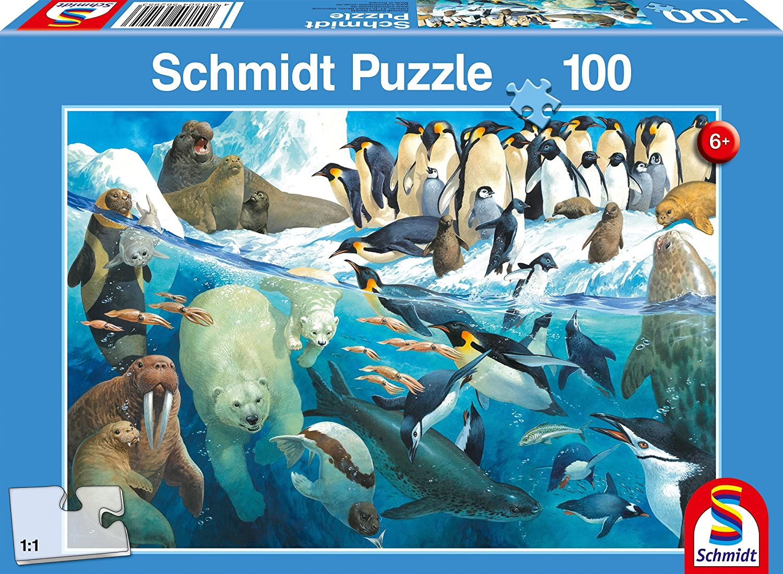 Schmidt Spiele- Puzzle Infantil, diseño de Animales en el círculo Polar, Multicolor (56295)
