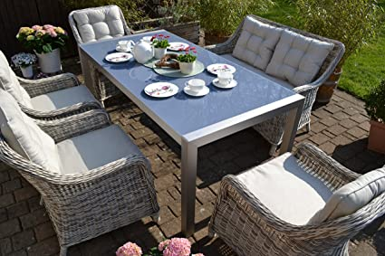 Amazon De Bomey Rattan Lounge Set I Gartenmobel Set Paris 7 Teilig I Essgarnitur Mit Polstern I Sitzgruppe Grau Tisch Polster Beige I Dining Lounge Fur Terrasse Wintergarten