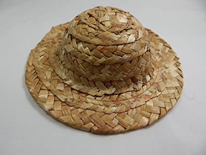 "Doll House Miniature #Z157 LP Straw Hat 2/"" Mini Wicker Straw Hat Hand Made"