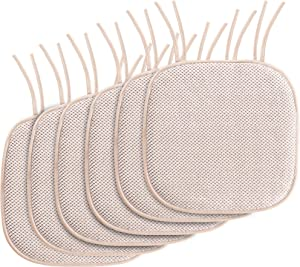 "Chair Cushion Memory Foam Chair Pads with Ties Honeycomb Pattern Nonslip Rubber Back Rounded Square 16"" x 16"" Dining Chair Seat Cover (6 Pack, Sand)"