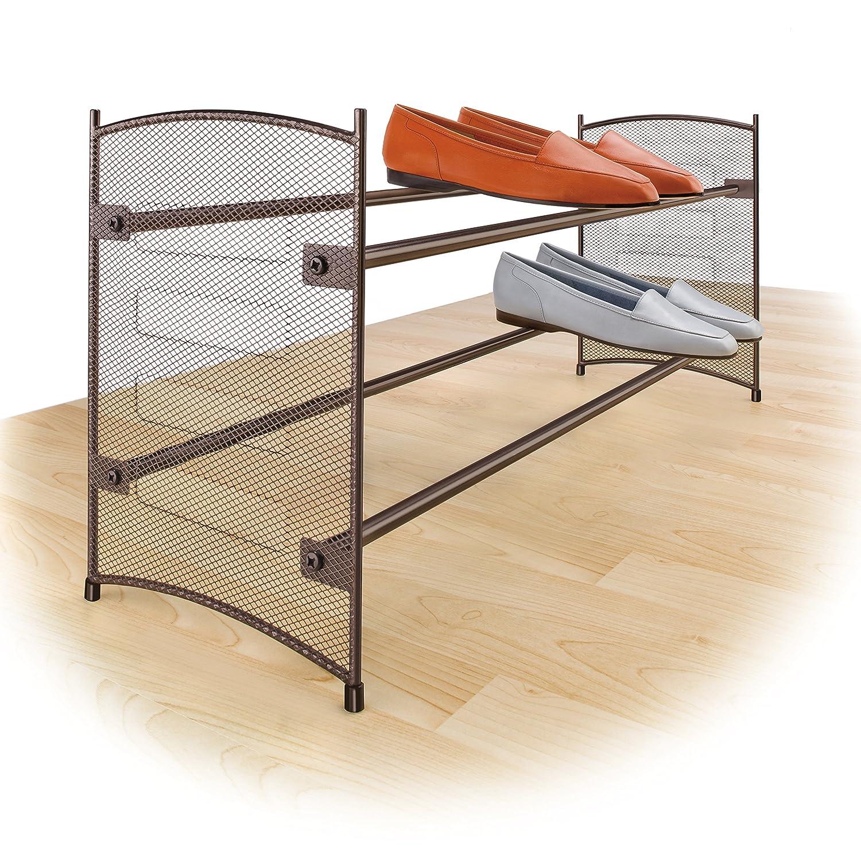 Lynk Expandable 2 Tier Stackable Shoe Rack - Steel Mesh Shoe Shelf -Bronze