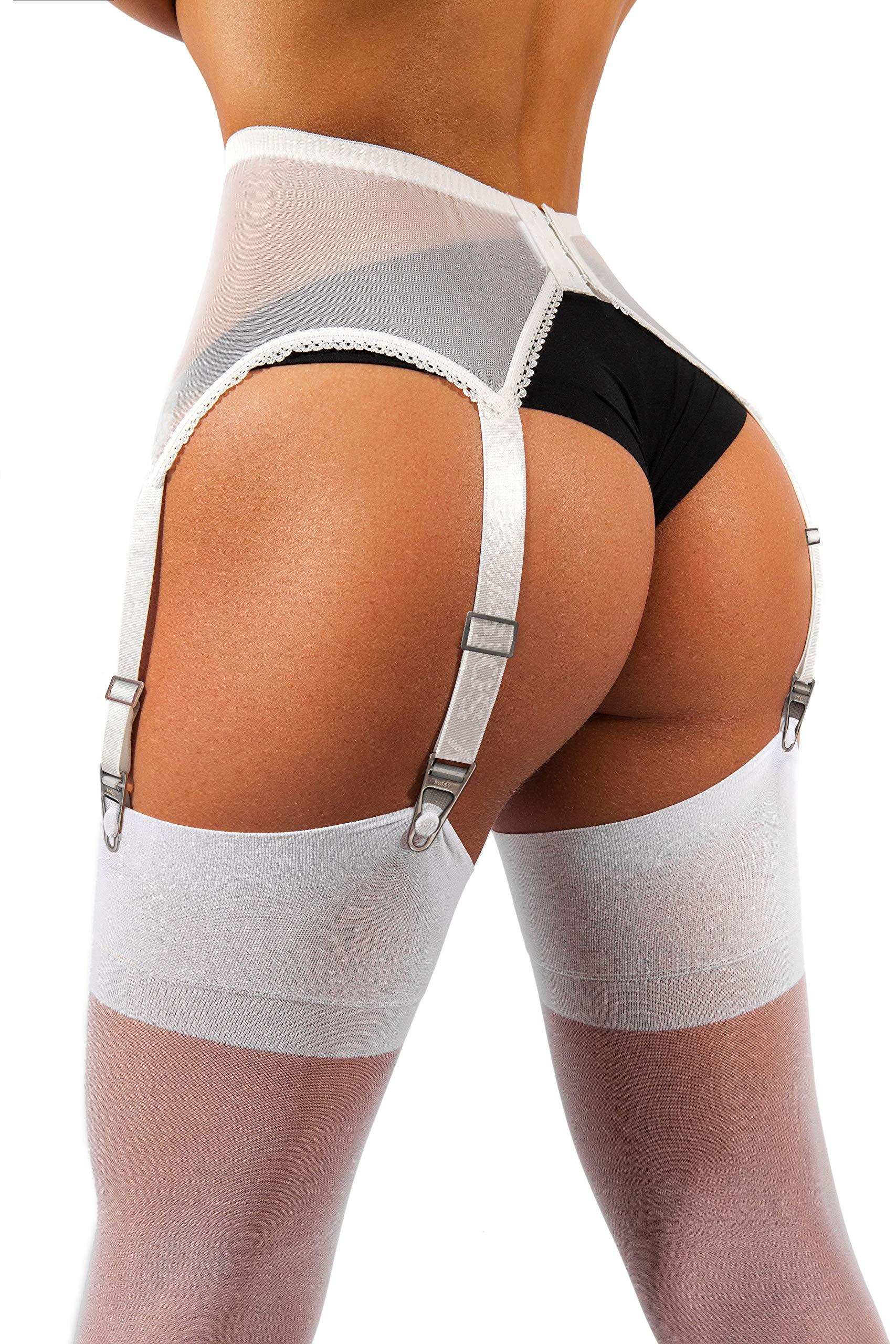 b0585a8657 sofsy Sheer Thigh High Suspender Stockings for Garter Belt and Suspender  Belt Plain 15 Den
