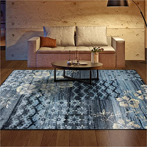 Superior Kennicot Collection Area Rug, 10mm Pile Height with Jute Backing, Fashionable and Affordable Rugs, Floral Geometric and Striped Design – 2 7 x 8 Runner, Blue and Beige