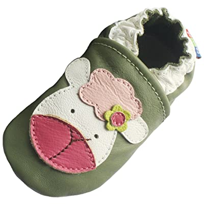 Carozoo Unisex Baby Soft Sole Leather Shoes Lamb Light Green