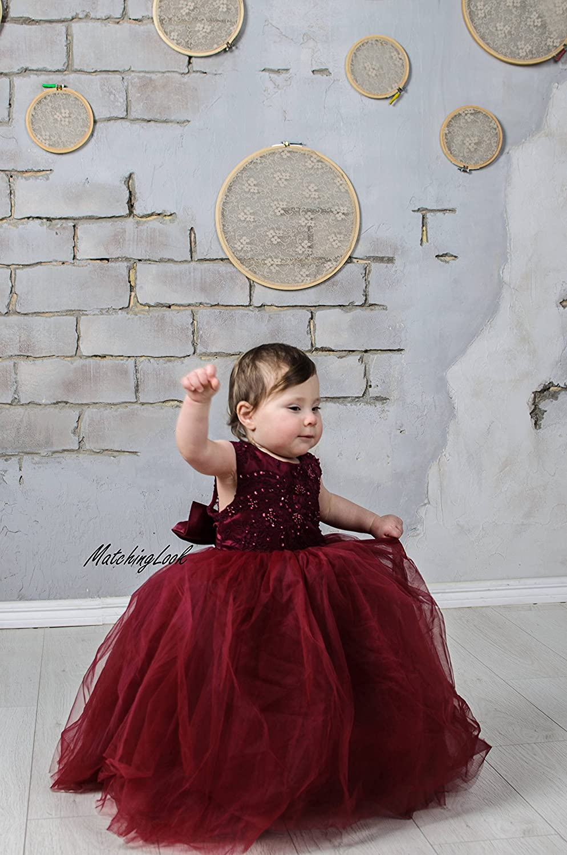 Amazon.com: Burgundy Flower Girl Dress, Lace Flower Girl Dress