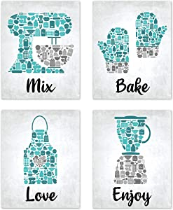 Bake Mosaic Turquoise Teal Grey Retro Inspirational Restaurant Utensil Food Wall Art Chef Baking Prints Posters Signs Sets for Rustic Country Kitchen Decor Home House Decor Decoration Dining Room Funny Sayings Quotes Unframed 8x10