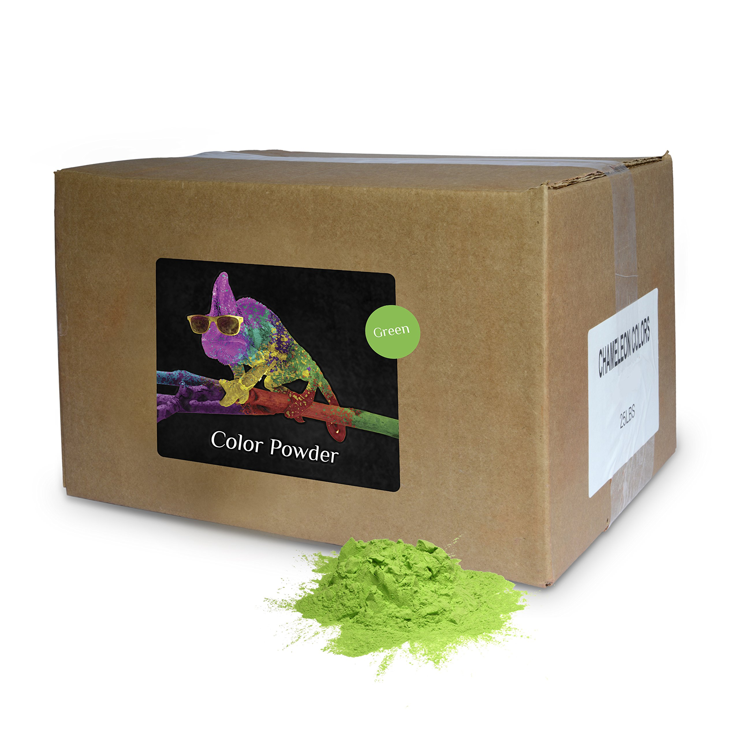 Holi Powder Bulk by Chameleon Colors - Green - 25 lbs. Pure, Authentic Fun - Perfect for a Color Race, 5k, Festival, Party or Any Other Event You Want to Make Colorful. by Chameleon Colors