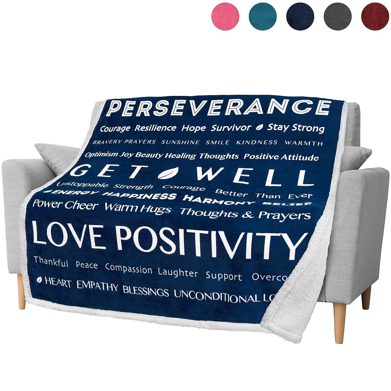 Amazon com: PAVILIA Healing Thoughts Blanket, Sherpa Throw