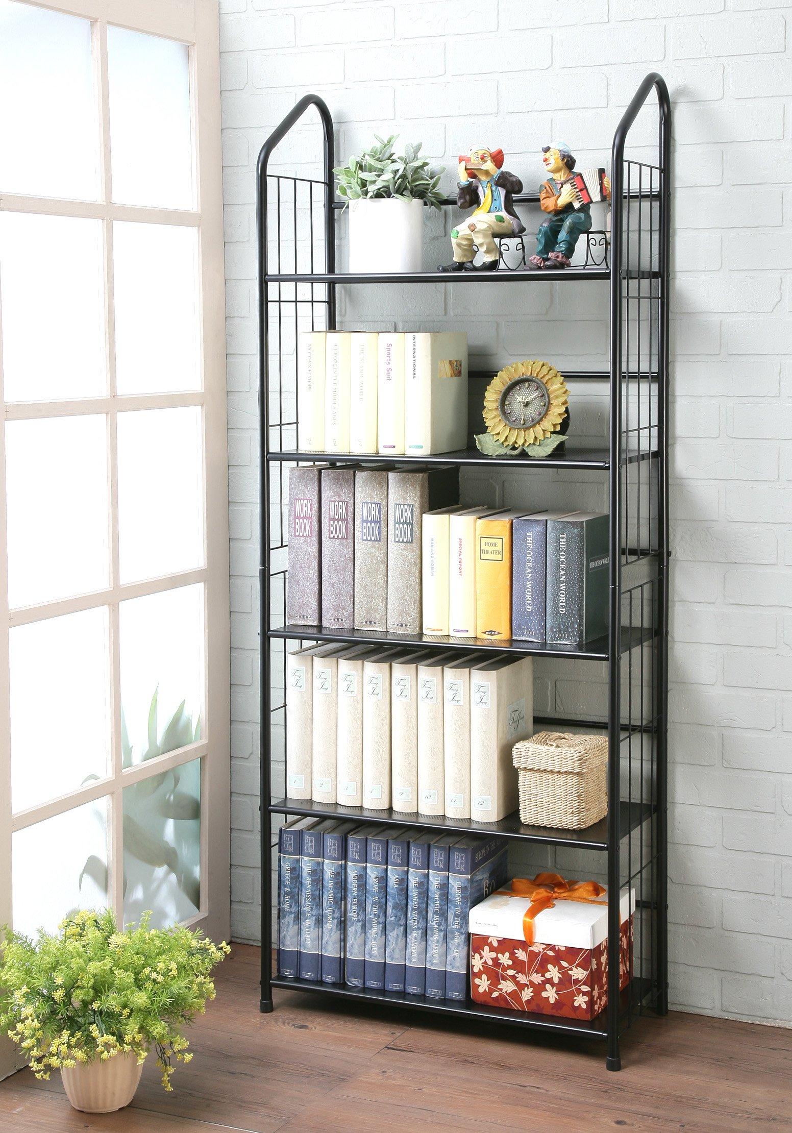 unbrand FT-597BK-5 Black 5 Tier Metal Bookshelf Rack, - Five tier shelving unit Constructed of sturdy metal Painted in Black Finish - living-room-furniture, living-room, bookcases-bookshelves - 916ZJSRNspL -