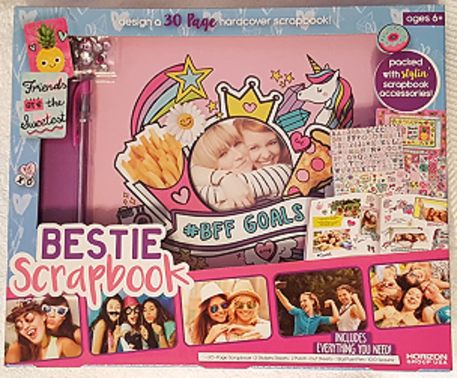 Bestie Scrapbook Kit with 30 Pages and Hardcover with Decoration Supplies