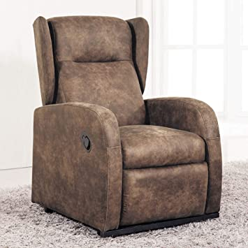 Sueños ZZZ - Sillon relax reclinable tapizado tela bali color Marron ...