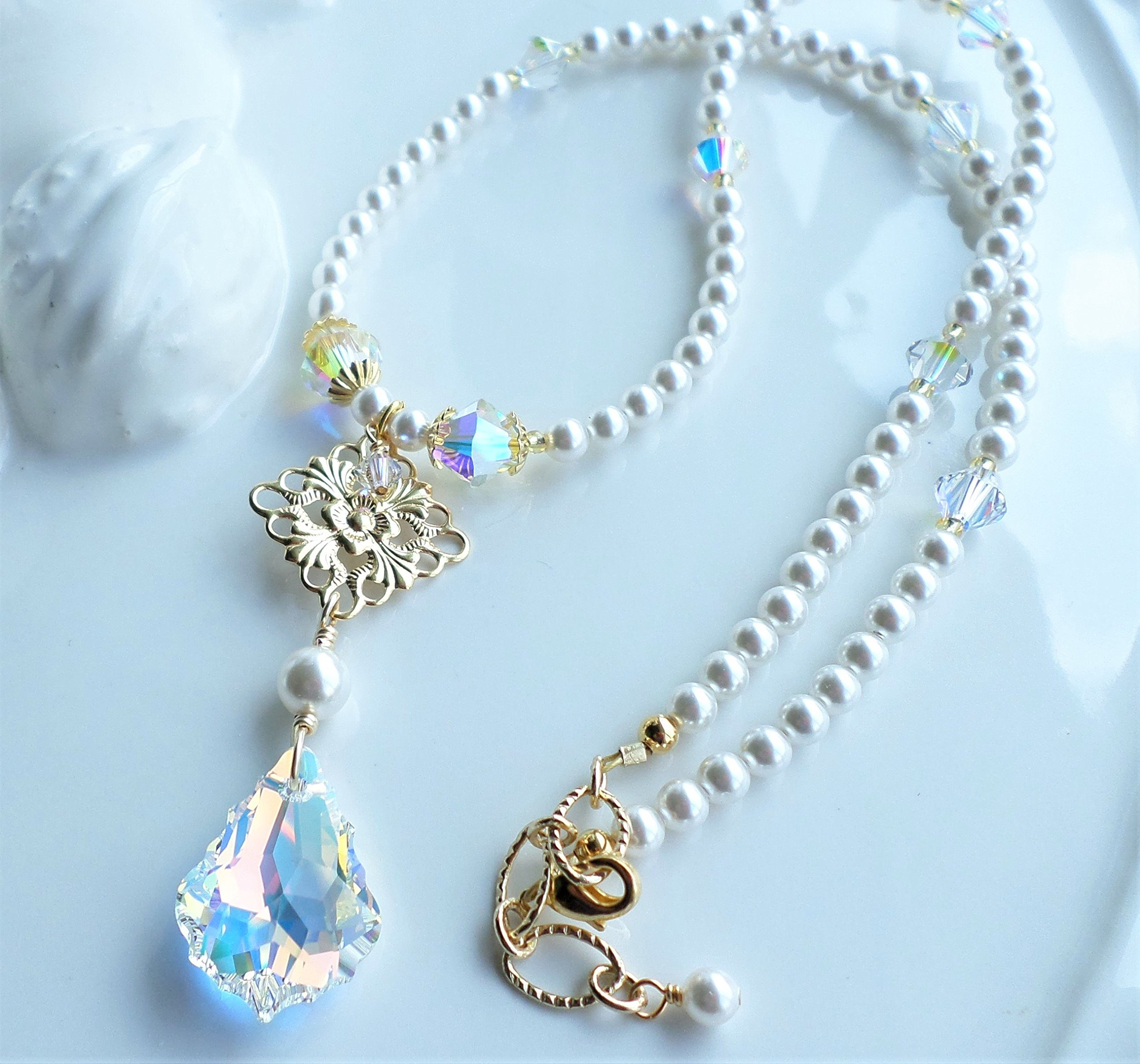 White Pearl Swarovski Crystal AB Wedding Bridal Necklace