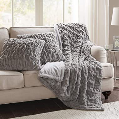 Comfort Spaces Faux Fur Throw Blanket Set – Fluffy Plush Blankets for Couch and Bed – Grey Size 50  x 60  with 2 Square Pillow Covers 20  x 20
