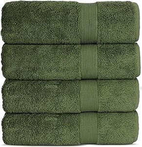 Chakir Turkish Linen Luxury Premium Cotton Long-Stable Turkish Towels (4-Piece, Bath Towel - Moss)