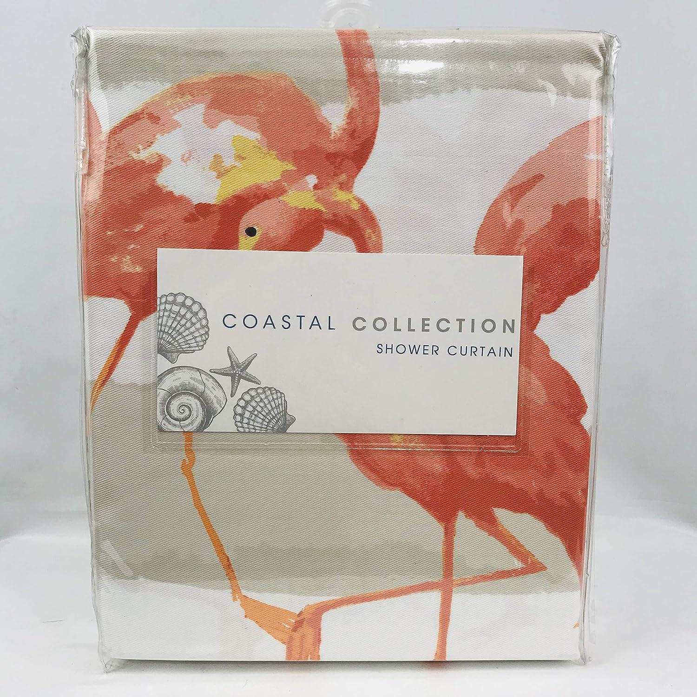 Amazon Coastal Collection Frankie Flamingo Beige Ombre Stripe Fabric Shower Curtain Home Kitchen