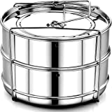 EasyShopForEveryone Stackable Steamer Insert Pans with Safety Vent Holes | Food Grade Stainless Steel Instant Pot Pans with Safety Sling | Pressure Cooker / Instant Pot Accessories for 5, 6, 8 qt
