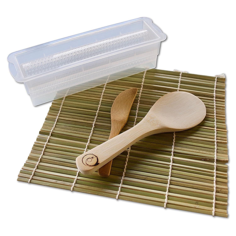 Green Sushi Rolling Mats Rice Paddle Spreader Sushi Maker Kit