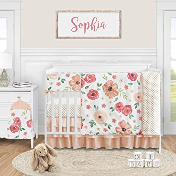 Amazon Com Sweet Jojo Designs Peach Watercolor Floral Baby Girl Nursery Crib Bedding Set 5 Pieces Pink And Green Shabby Chic Rose Flower Polka Dot