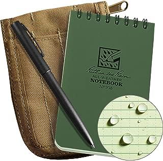 "product image for Rite in the Rain Weatherproof 3"" x 5"" Top-Spiral Notebook Kit: Tan Cordura Fabric Cover, 3"" x 5"" Green Notebook, and an Weatherproof Pen (No. 935-KIT), Green/Tan"