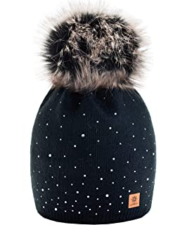 Descrizione prodotto. Lau s Berretti invernali ragazza cappello doppio pon  pon di pelliccia rimovibile 90288b96a4d1