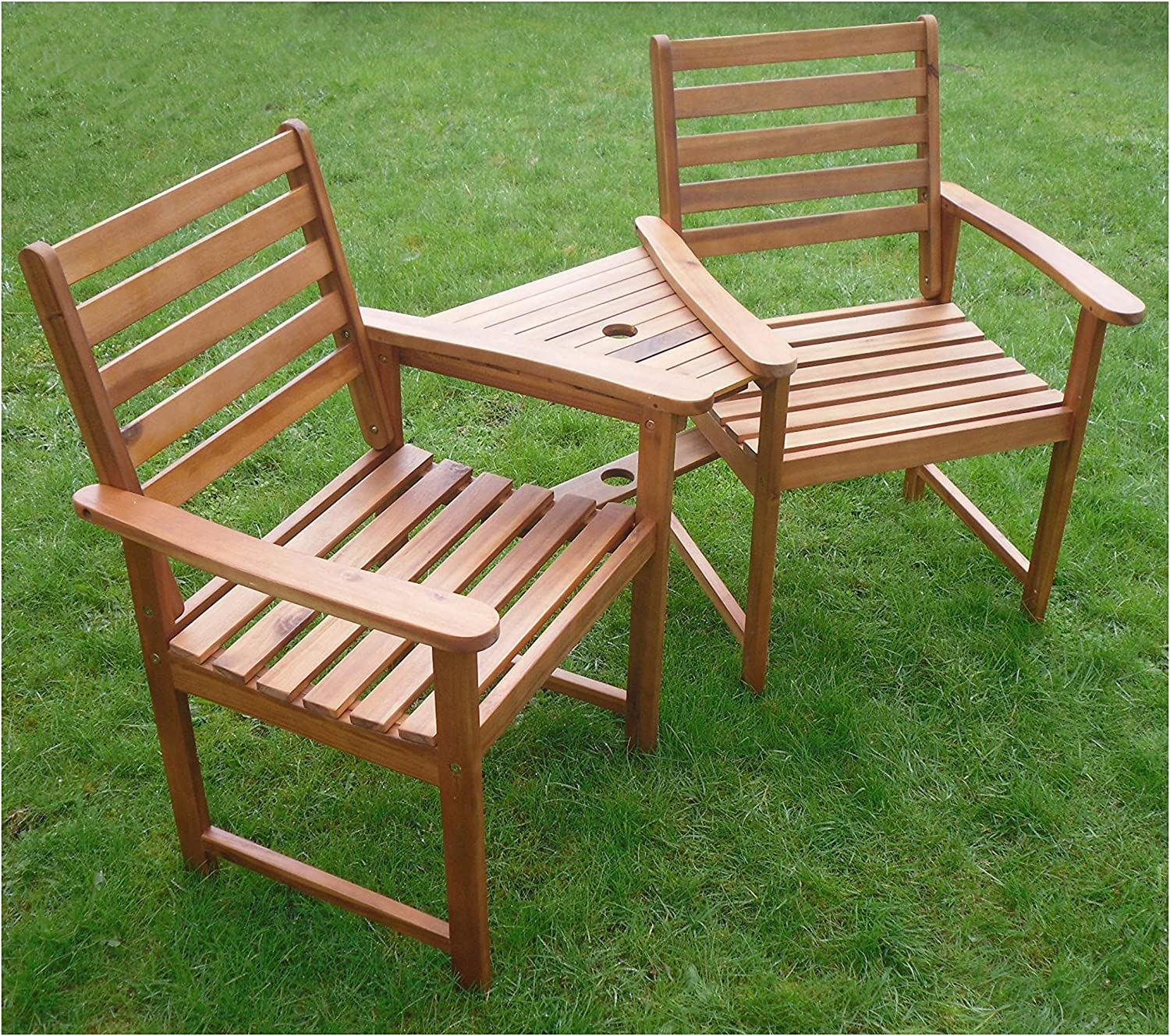 Ascot Hardwood Garden Bench Companion Set Love Seat Great Outdoor Furniture For Your Garden Or Patio Amazon Co Uk Garden Outdoors