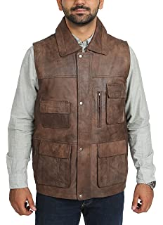 47f39d7f6a3a2 Mens Real Leather Hunters Waistcoat Gilet Multi Pocket Vest Fishing Hiking  Casual Roger Brown