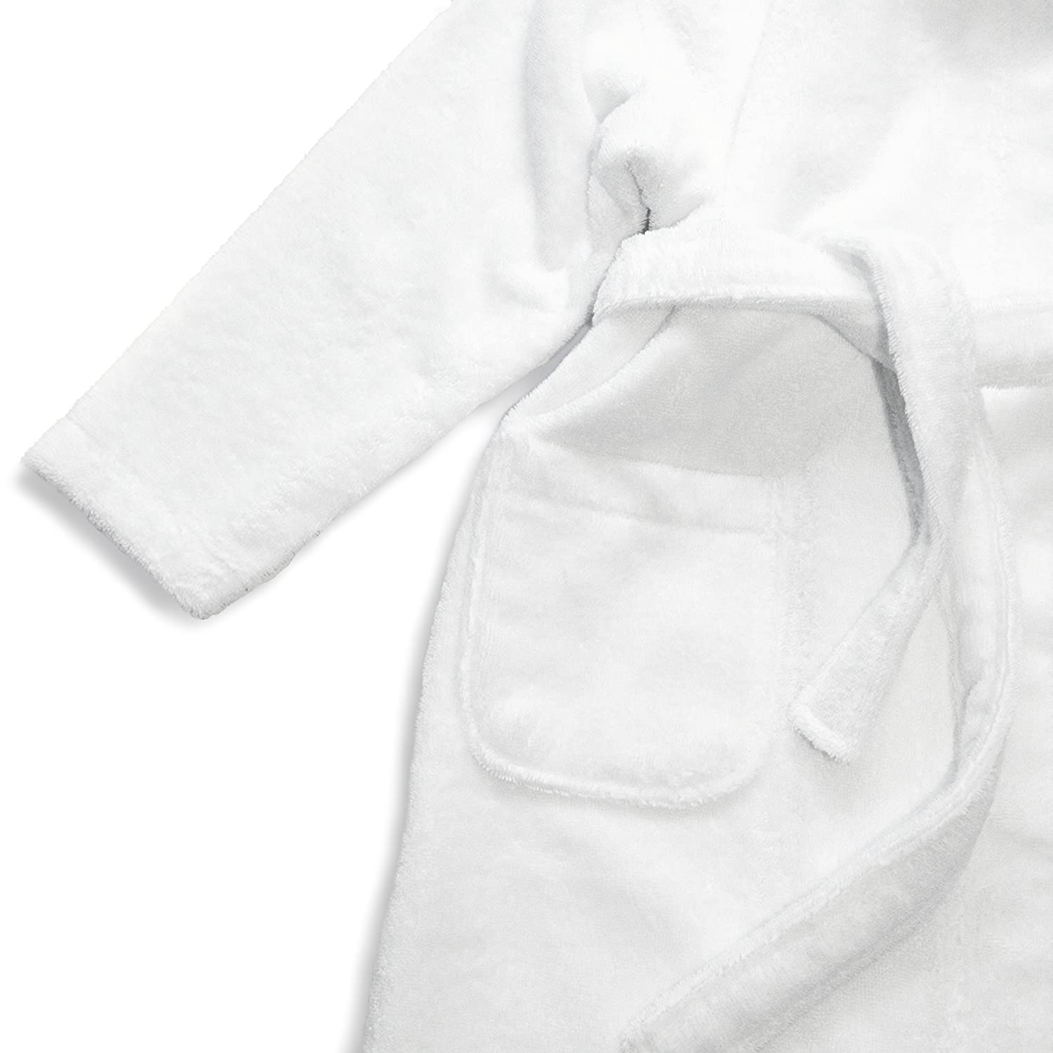 Embroidered Pattern Sweet Kids Turkish Cotton Terry Cloth White Royal Blue Monogram Hooded Bathrobe