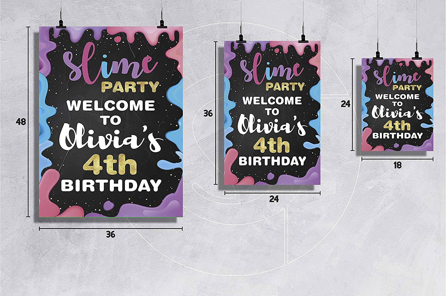 Birthday Party Slime Birthday Party Welcome Sign Size 24x18 Happy Birthday Colorful Birthday Party Decor Welcome Sign Fun Color Party Design Slime Party Decor 36x24 and 48x36 Poster for Kids