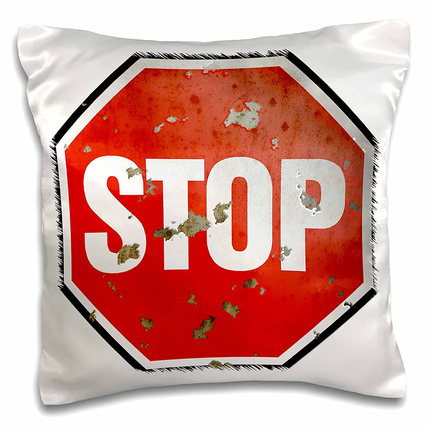 16 by 16 3dRose pc/_24332/_1 Stop Grunge Red Sign On White Background-Pillow Case