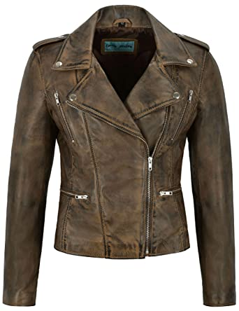18450810fdf9 Smart Range Women's Leather Jacket Dirty Brown Fashion Designer Motorcycle  Biker Style 7113 (8 for