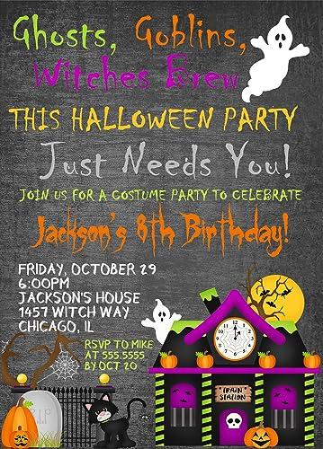 Kids Halloween Birthday Party Invitations Costume Invitation With Envelopes