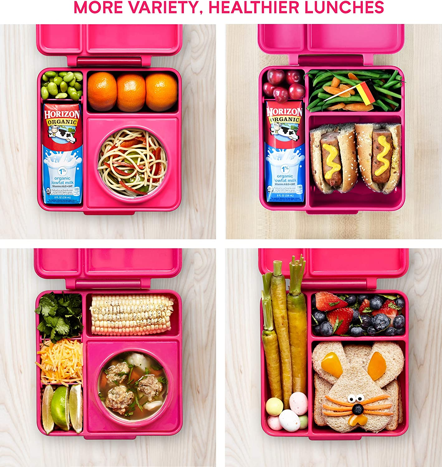 OmieBox Bento Lunch Box Pink Insulated Thermos Leak Proof