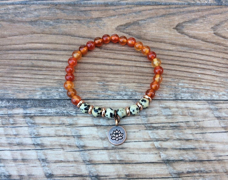 Dalmatian Jasper Chunky Lotus Bracelet