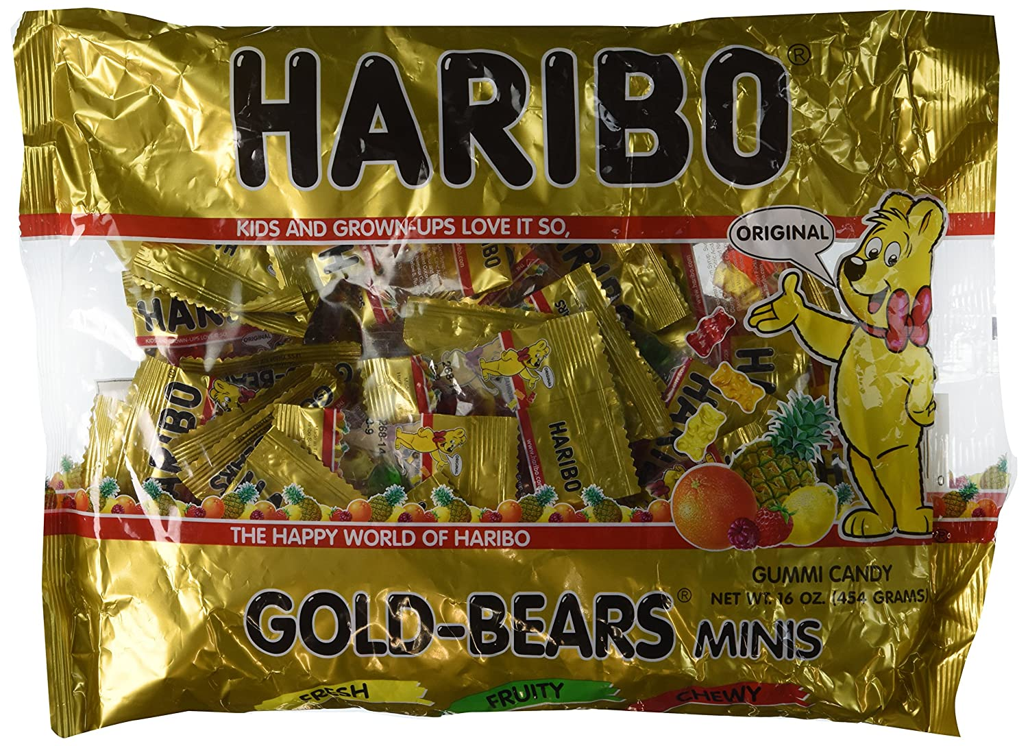 Haribo Gold-Bears Minis - Approximately 40 Individual Mini Bags, 16 Ounce Bag