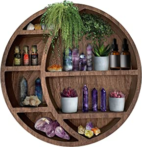 Wooden Floating Moon Shelf Wall Decor - Decorative Boho Home Hanging Display Shelf for Bedroom, Dorm, Nursery - Easy Mount Storage for Crystals and Essential Oils - 14 x 14 x 3.5 (Brown)