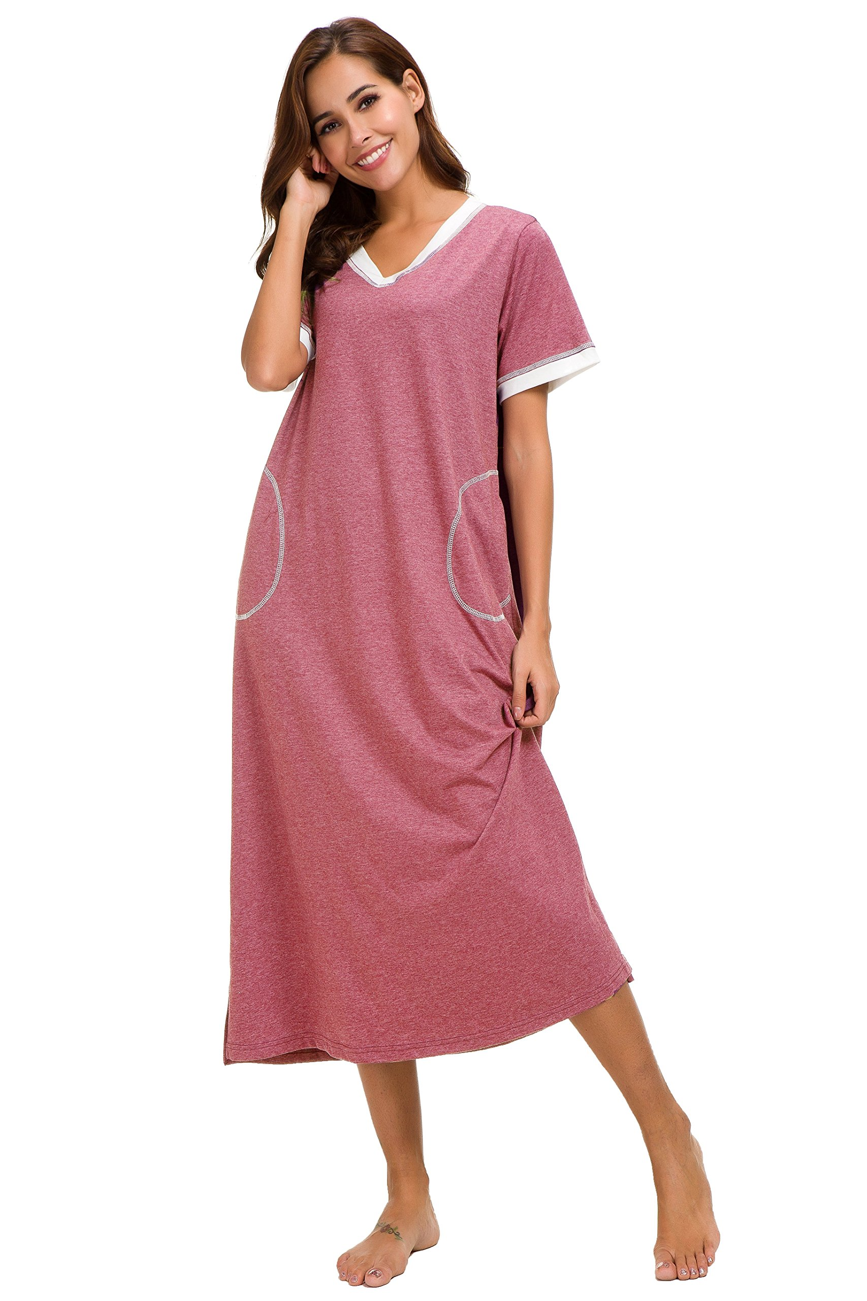 Aviier Long Nightgown Womens Lounge Dresses with Pockets V Neck Short Sleeve Maxi Nightshirt Sleepwear (XXL, Red)