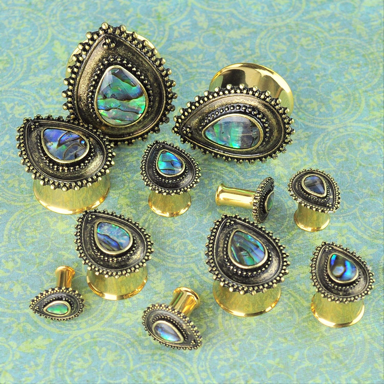ArcticBuffalo Gold PVD Stainless Steel Teardrop Plugs with Abalone Shell Ear Gauges