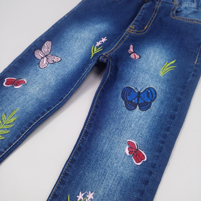 Kidscool Girls Embroiderd Butterfly Grass Jeans Pants