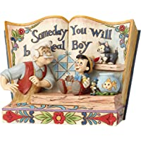 迪士尼传统 Someday You Will Be A Real Boy-故事书Pinocchio 雕像,RESIN,多色,22 x 10 x 15厘米