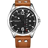 Stuhrling Original Mens Leather Watch -Aviation Watch