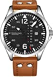 Stuhrling Original Mens Leather Watch -Aviation Watch, Quick-Set Day-Date, Leather Band with Steel Rivets, Men Watch…