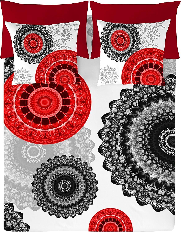 NATURALS Juego De Funda Nórdica Karma Granate/Multicolor Cama 150 (240 x 220 cm + 2/45 x 90 cm)