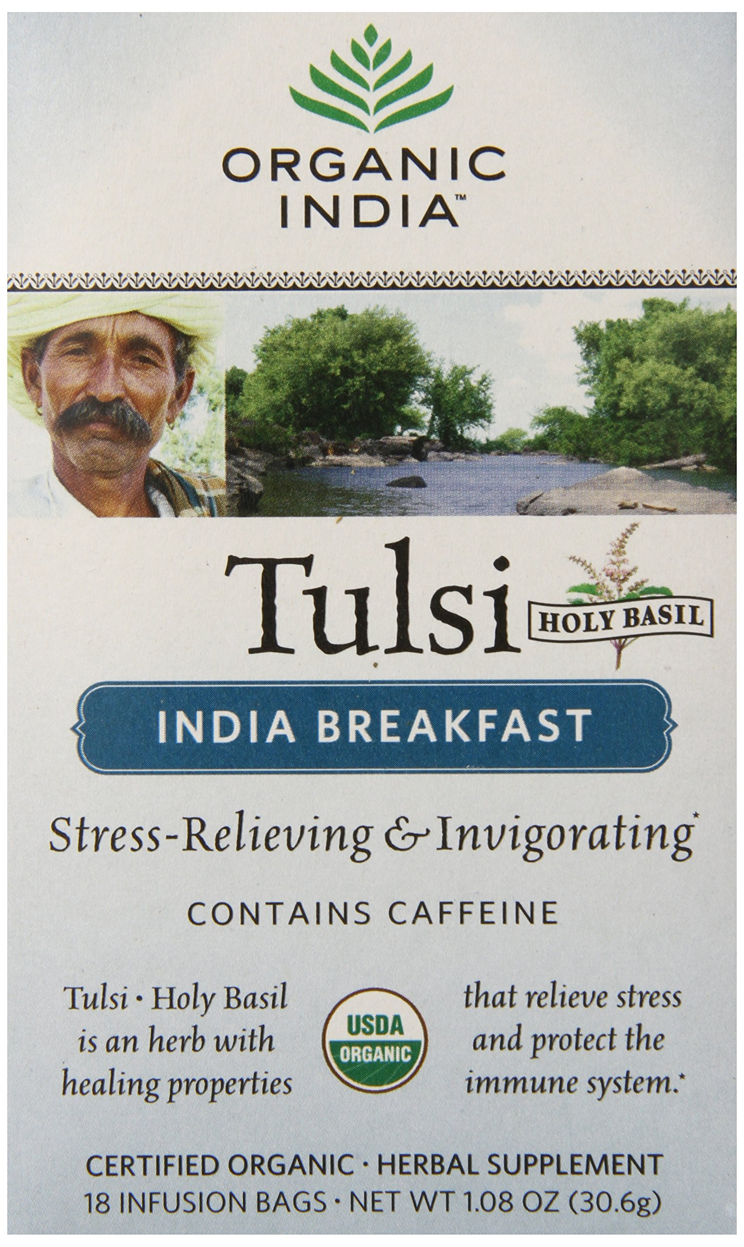 ORGANIC INDIA Tulsi India Breakfast Tea, 18 Count (Pack of 6)