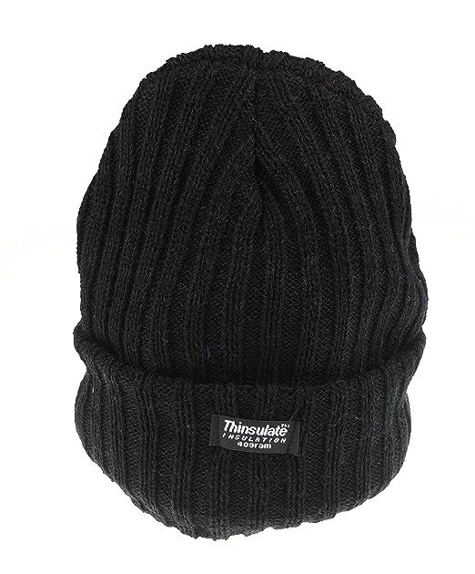 Glamour Girlz Ladies spessa lavorato a maglia grossa con risvolto a costine  morbido Thinsulate cappello Black f5c15fe2724a