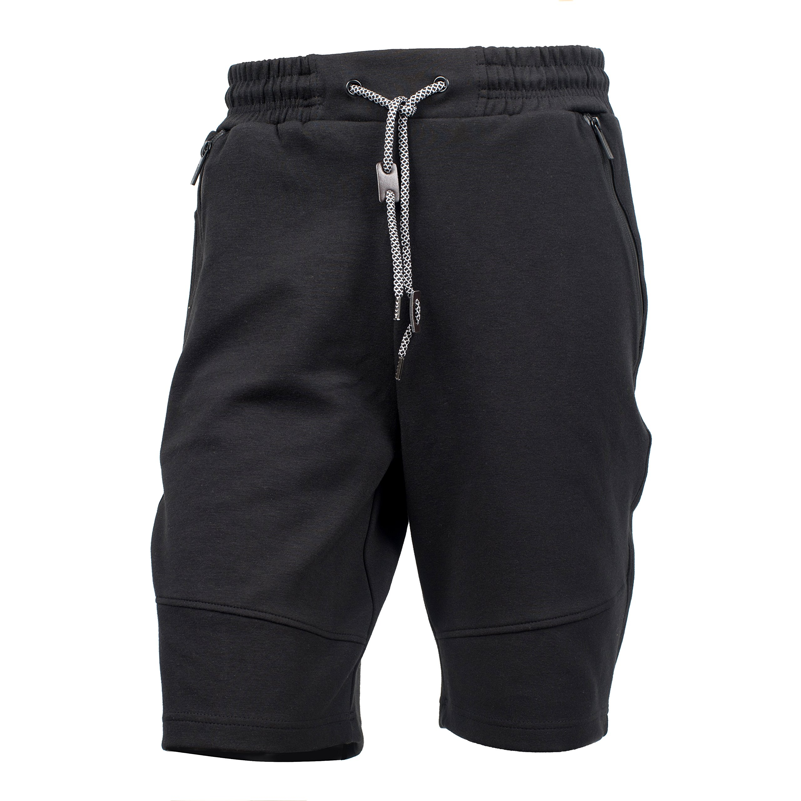 Yes Way Men's Classic Fit Casual Soft Fleece Cargo Short Pants-Black XL