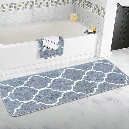 Amazon.com: Homcomoda Microfiber Bathroom Shower Rug Geometric Bath ...
