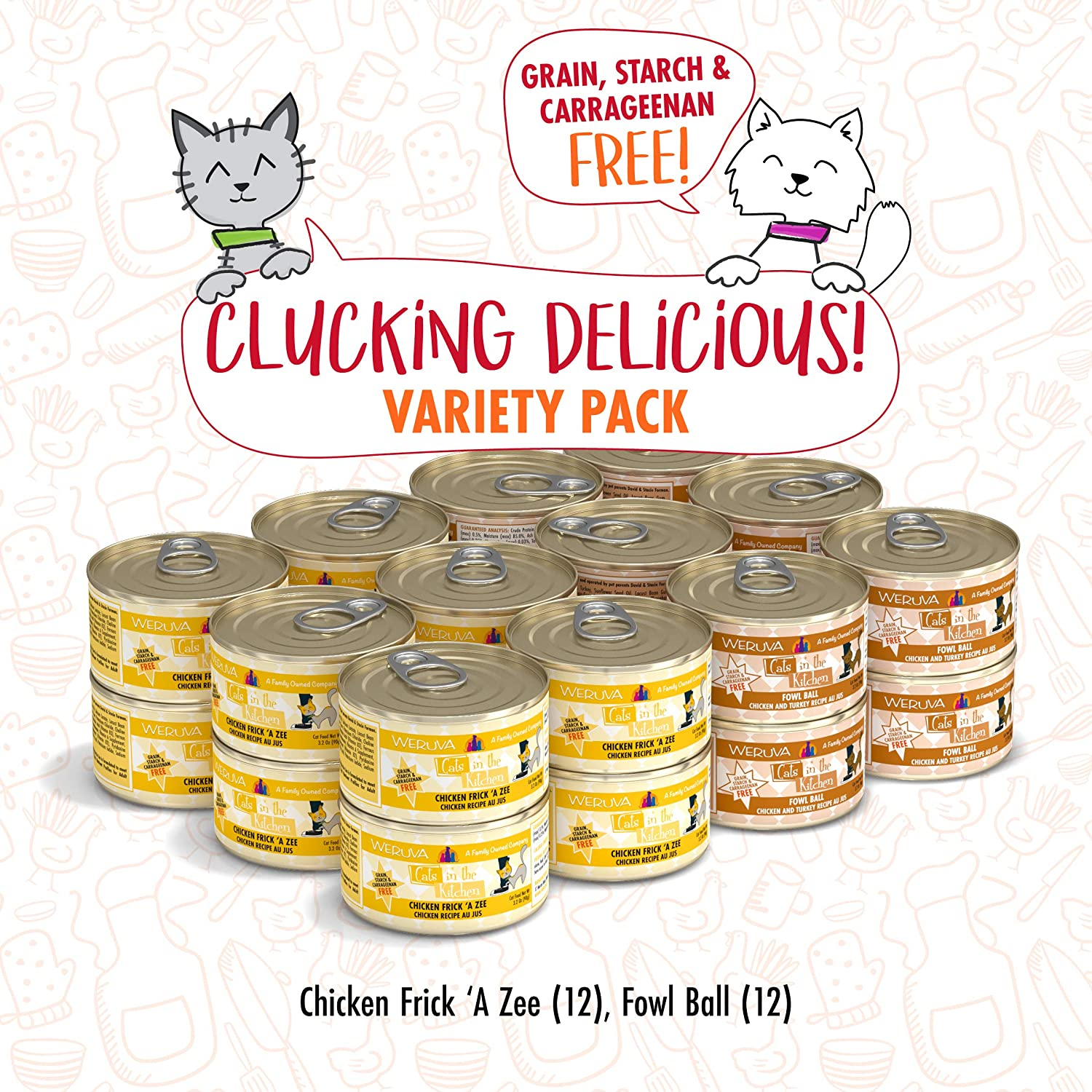 Weruva Cats In The Kitchen Clucking Delicious Variety Pack 3 2oz Can Pack Of 24