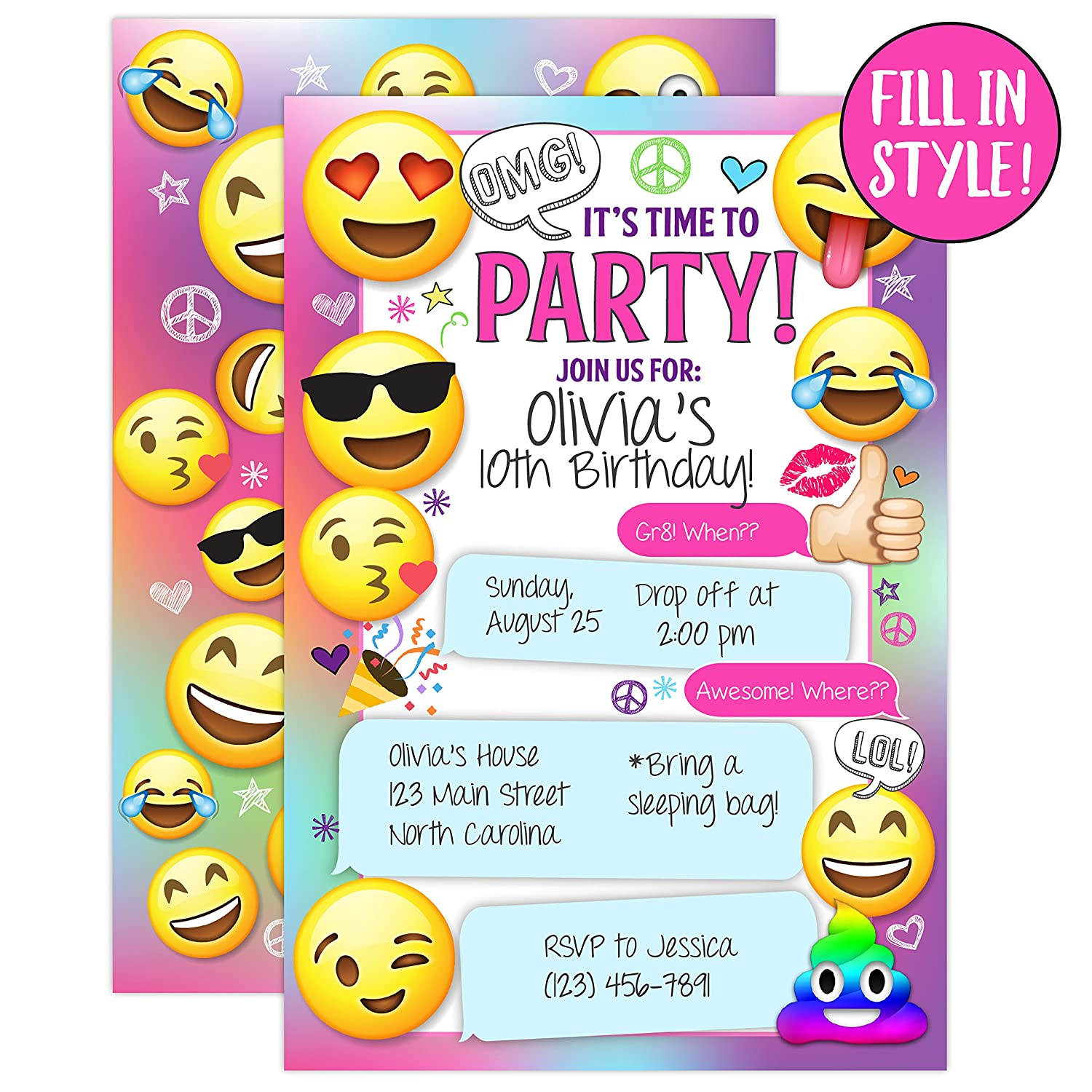 Amazon Emoji Party Invitations Girl Birthday Invites Emojional20 Fill In Style With Envelopes Kitchen Dining